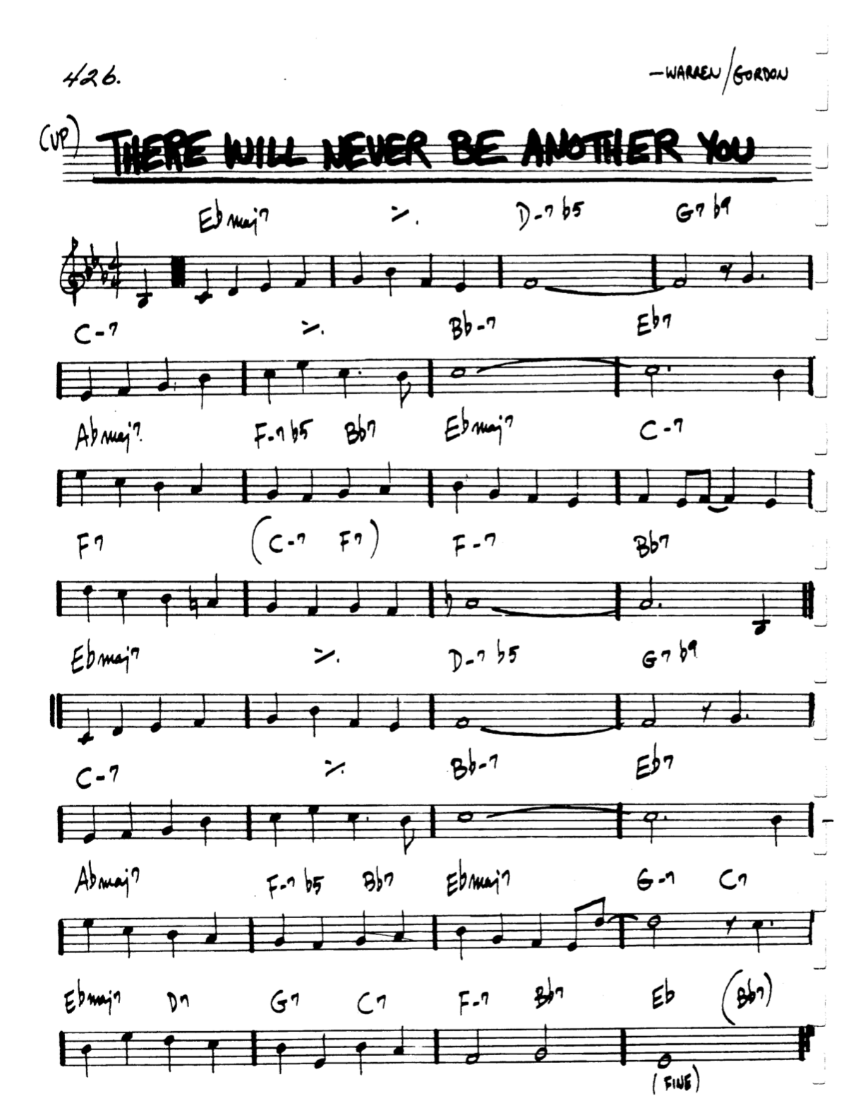 There Will Never Be Another You – Warren/Gordon – minedit