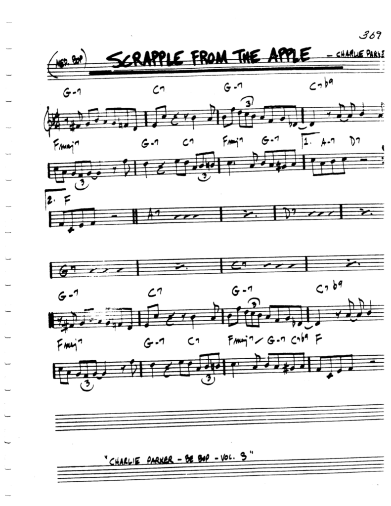Scrapple From The Apple Lead Sheet Pdf By Charlie Parker Minedit